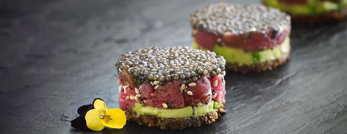 Caviar ontop of avacado and salmon