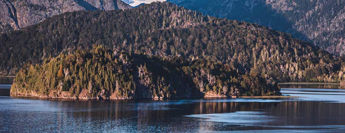 Argintina lake island near mountains